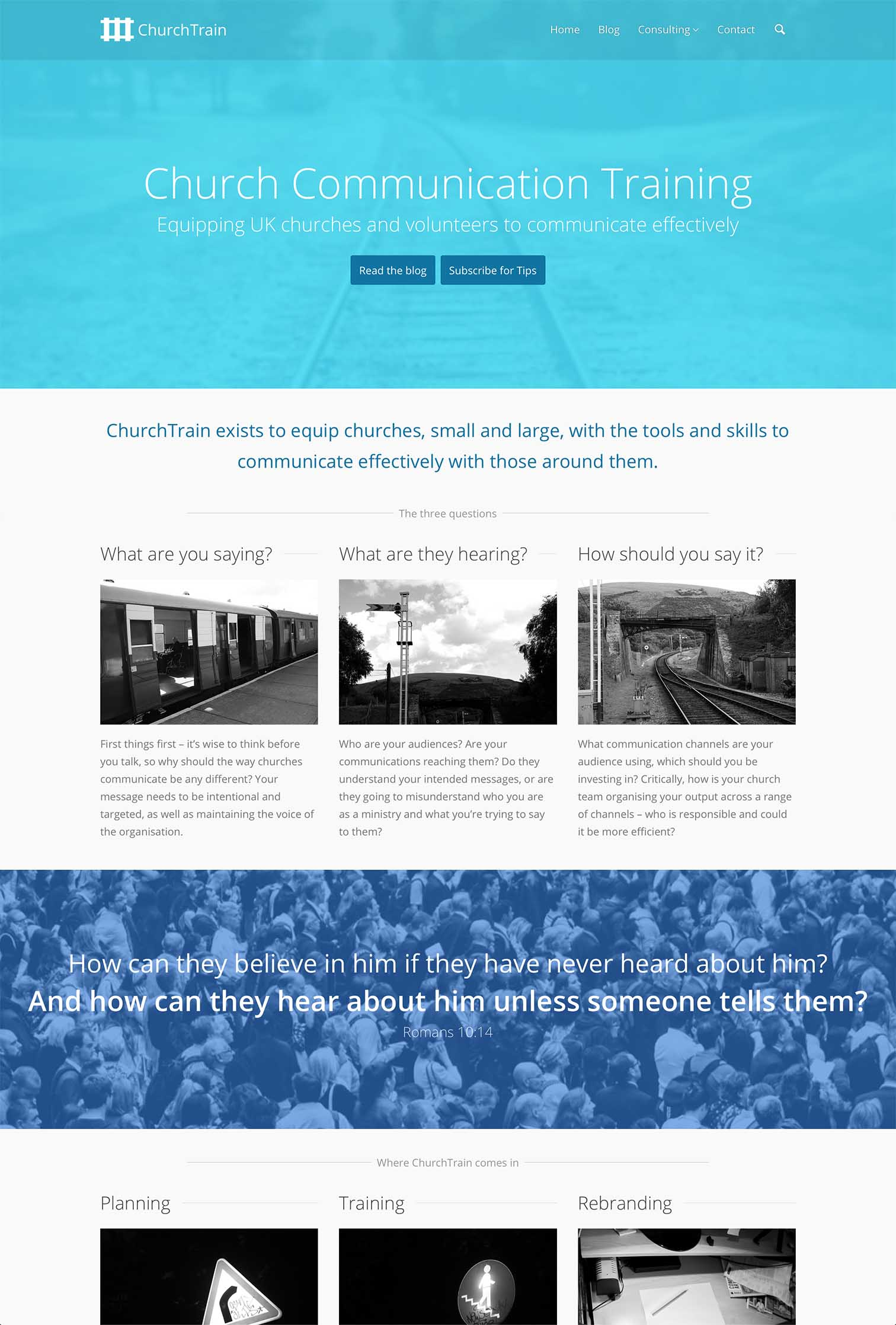 ChurchTrain Website Design and Communication Advice for Churches