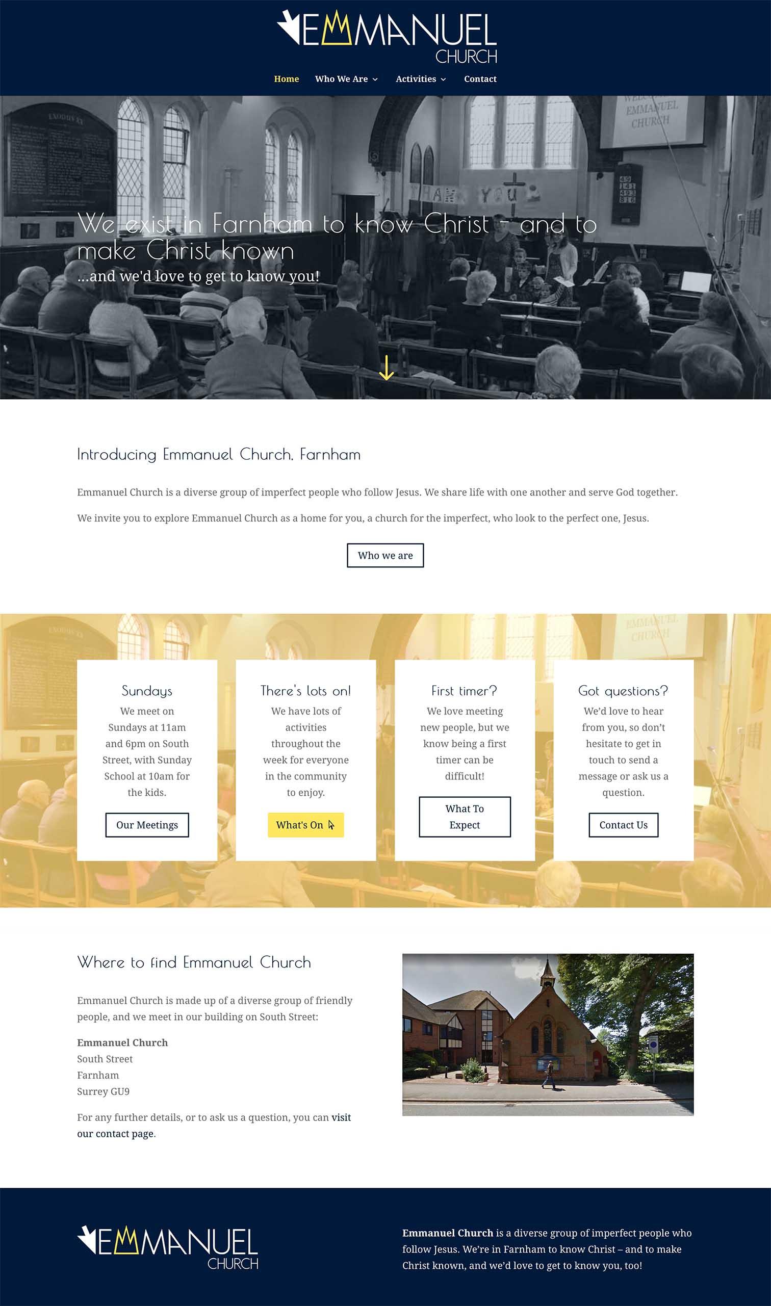 Emmanuel UK Church Website Design built by Be Gallant