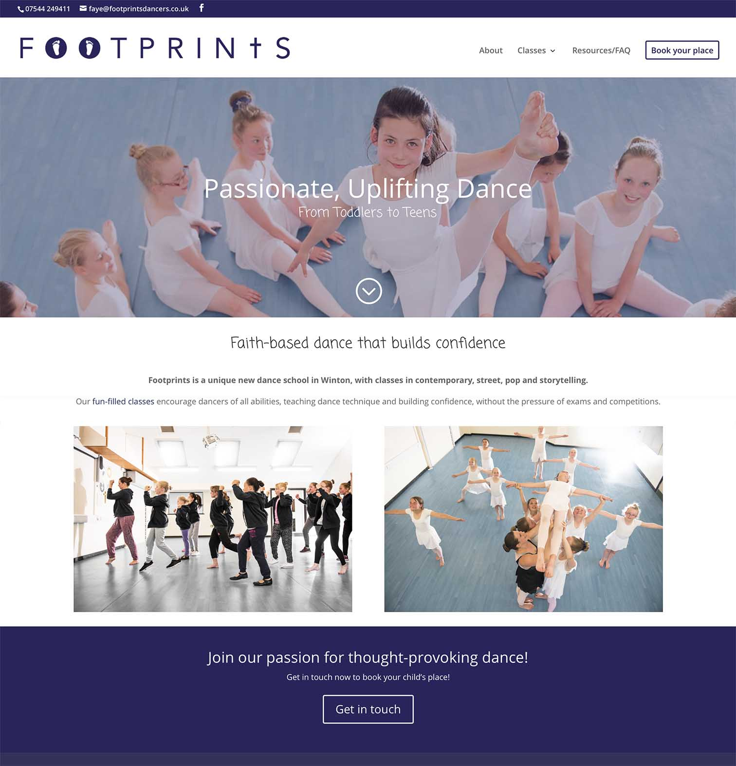 Footprints Dance School Website Creation and Design - Be Gallant