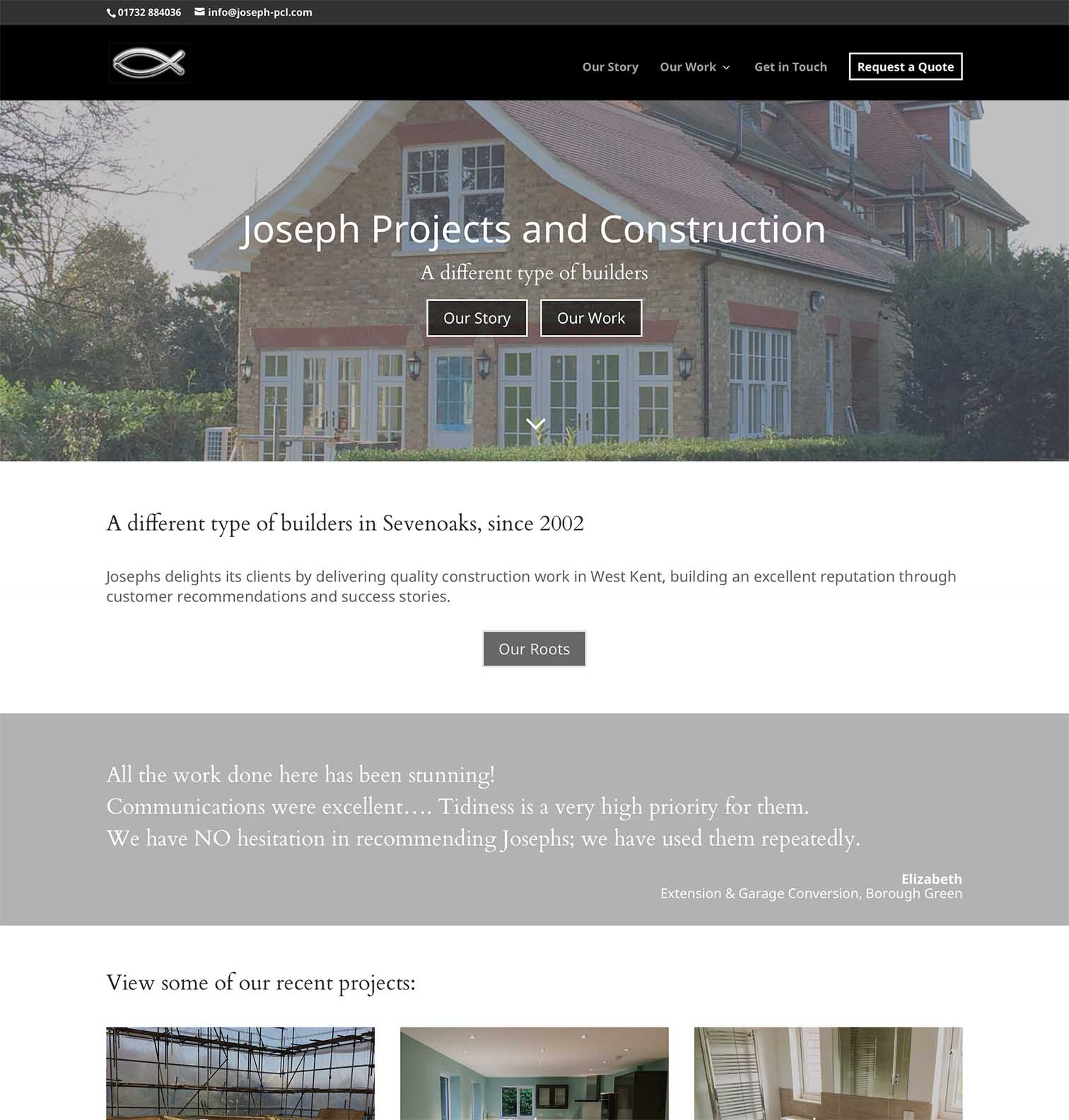 Josephs Builders Website in Sevenoaks Kent - Be Gallant Design