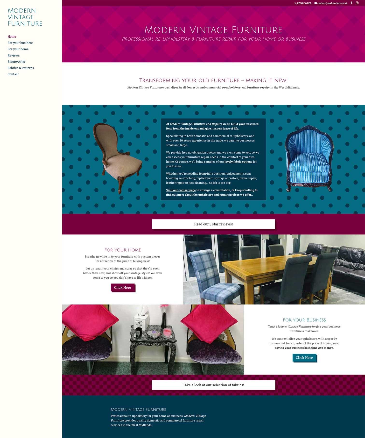MV Furniture West Midlands Vintage Website Design - Be Gallant