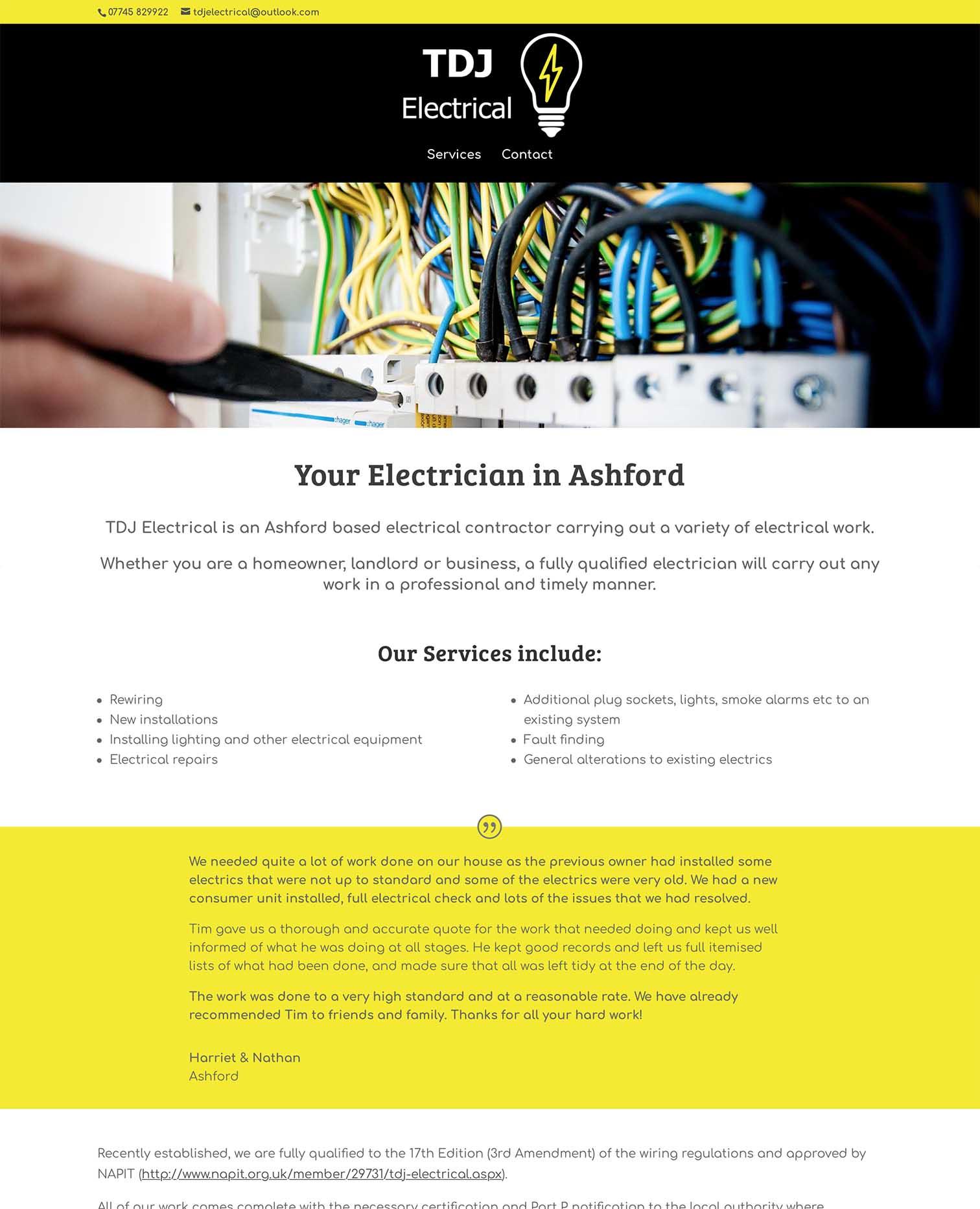 TDJ Electrical - Local Business Website Design - Ashford, Kent