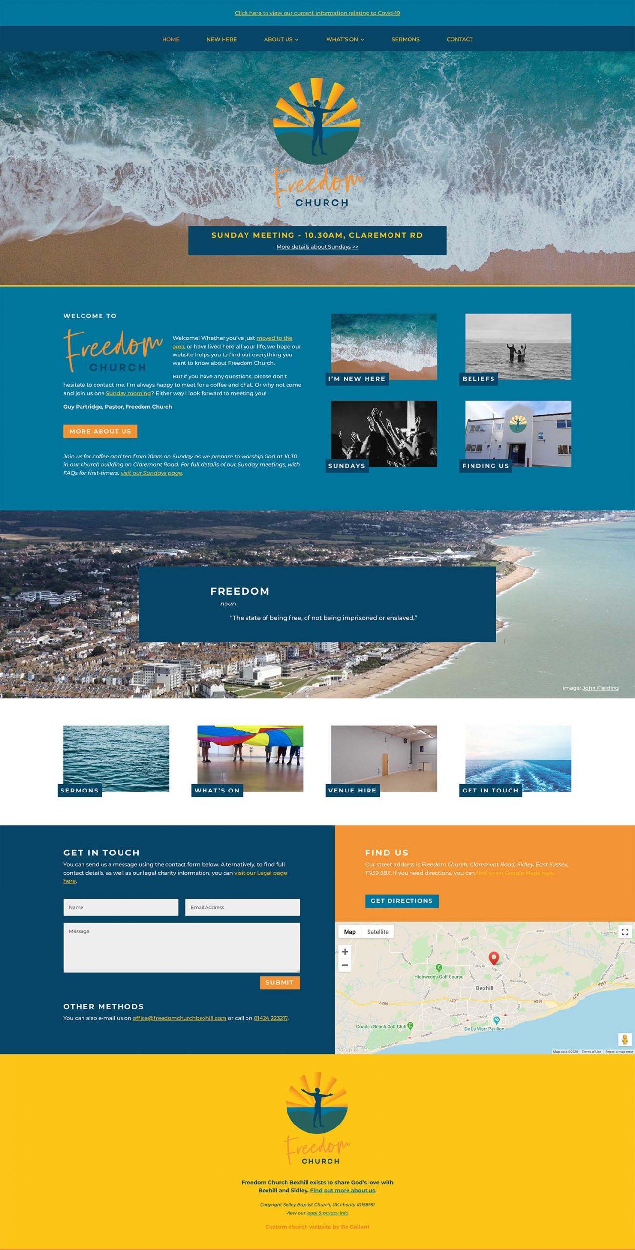 Freedom Church Bexhill - new church website design by Joe Gallant